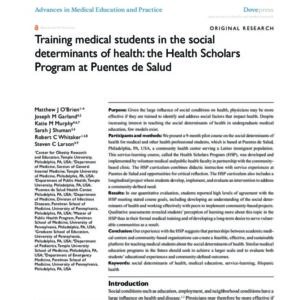 Advances in Medical Education and Practice   Training Medical Students in the Social Determinants of Health