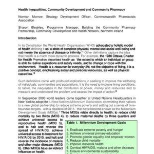 Health Inequalities   Community Development and Community Pharmacy